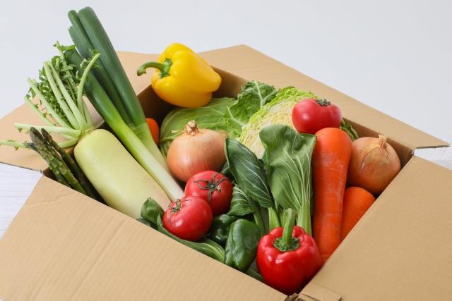 段ボールに入った野菜